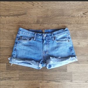 7 For All Mankind Faded Cut-Off Jean Shorts 27